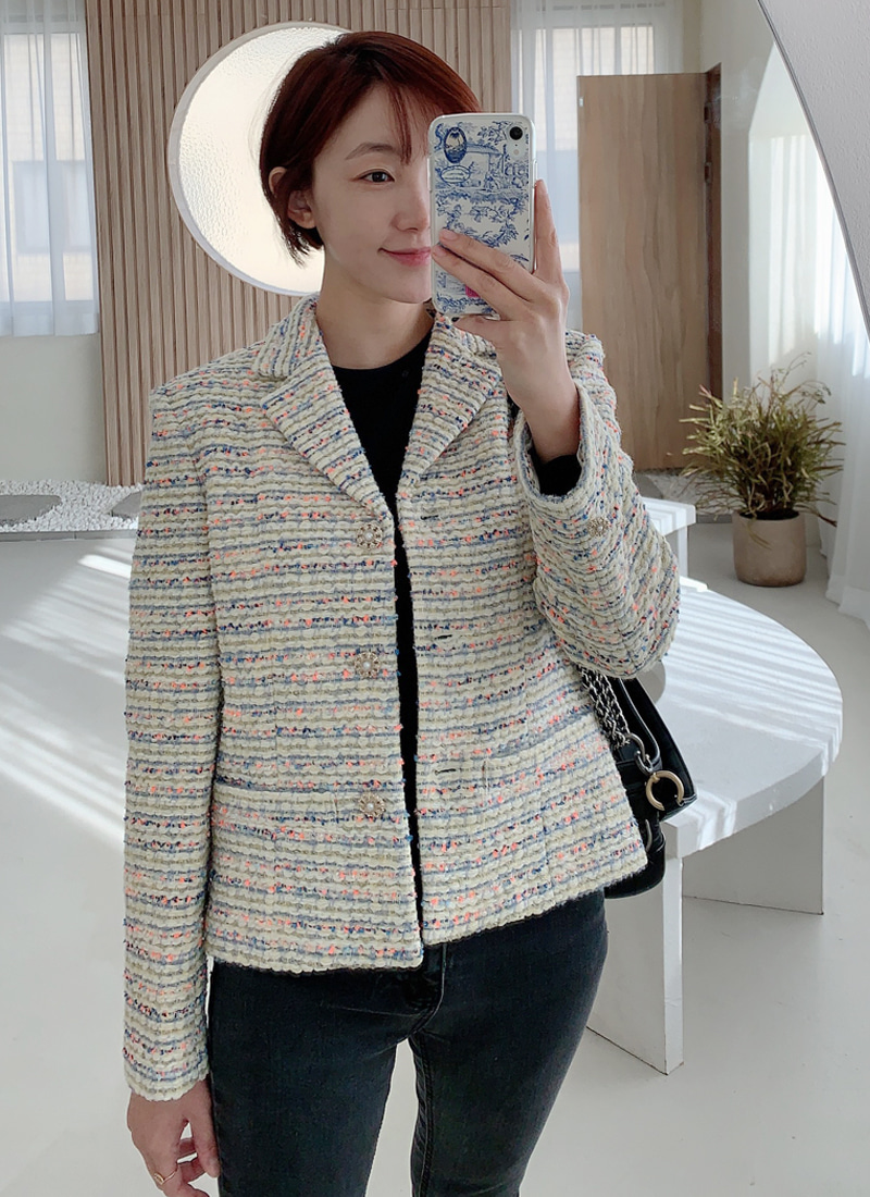 미입금분 short tweed jacket